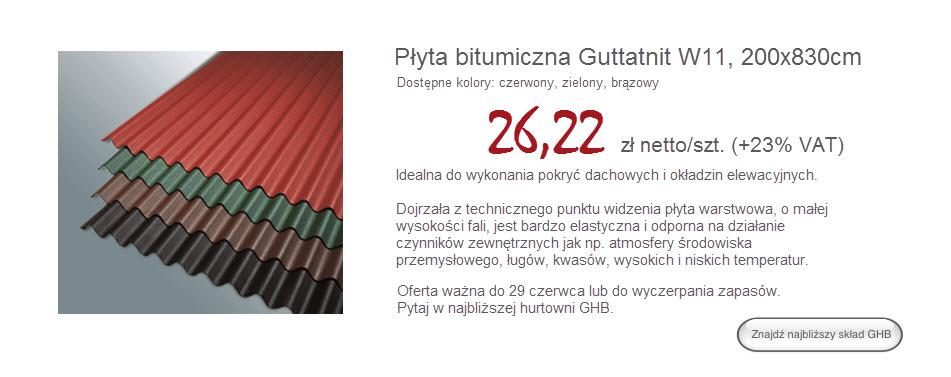 Płyty bitumiczne Guttanit W11 GHB.PL - materiały budowlane